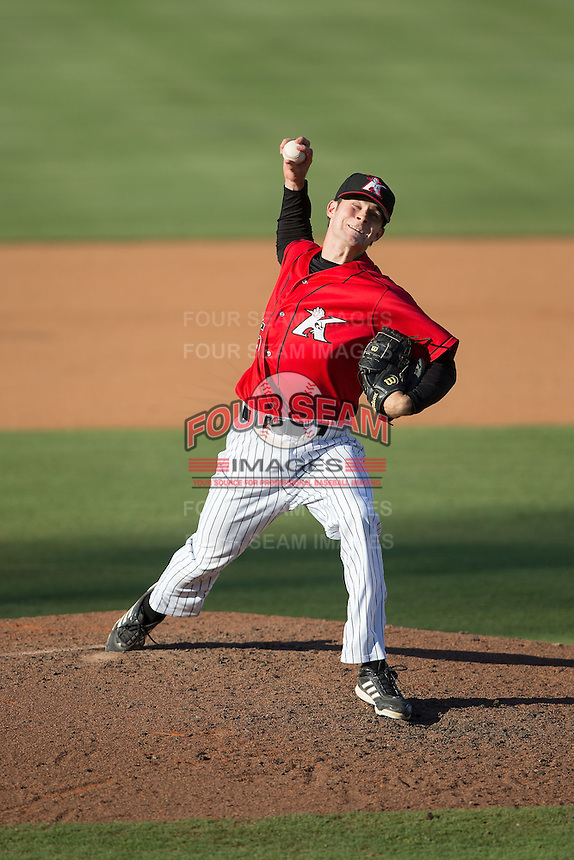 Kannapolis Intimidators relief pitcher Connor Walsh (45) in action against the Asheville Tourists at Intimidators Stadium on June 28, 2015 in Kannapolis, North Carolina.  The Tourists defeated the Intimidators 6-4.  (Brian Westerholt/Four Seam Images)