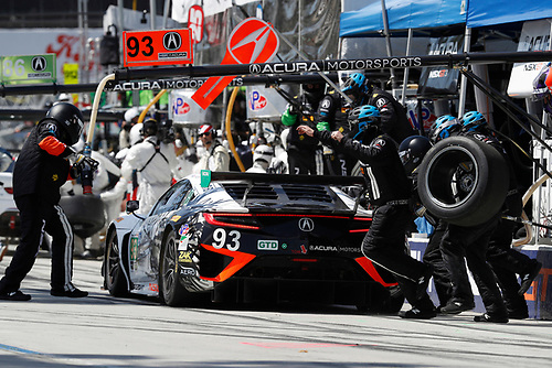 2017 IMSA WeatherTech SportsCar Championship<br /> BUBBA burger Sports Car Grand Prix at Long Beach<br /> Streets of Long Beach, CA USA<br /> Saturday 8 April 2017<br /> 93, Acura, Acura NSX, GTD, Andy Lally, Katherine Legge, pit stop<br /> World Copyright: Michael L. Levitt<br /> LAT Images<br /> ref: Digital Image levitt-0417-lbgp_08145