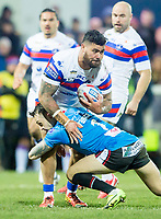 Picture by Allan McKenzie/SWpix.com - 09/02/2018 - Rugby League - Betfred Super League - Wakefield Trinity v Salford Red Devils - The Mobile Rocket Stadium, Wakefield, England - Wakefield's David Fifita is tackled by Salford's Gareth O'Brien.