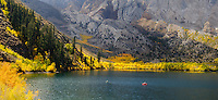 Panoramic view of Convict Lake fishermen taking in the autumn beauty of this gem in the Sierras