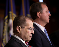 House Judiciary Committee Chairman Jerrold Nadler (Democrat of New York) and Intelligence Committee Chairman Adam Schiff (Democrat of California) attend a press conference on Capitol Hill in Washington D.C., U.S. on June 11, 2019.  The press conference followed a House vote, where lawmakers passed a bill which allows the House Judiciary Committee to call on Federal judges to enforce Congressional subpoenas. Photo Credit: Stefani Reynolds/CNP/AdMedia