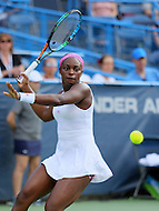 Washington, DC - August 9, 2015:  Sloane Stephens (USA) hits a forehand shot during the WTA womens final match at the Citi Open held at Rock Creek Park Tennis Center in Washington, DC  August 9, 2015.  (Photo by Elliott Brown/Media Images International)