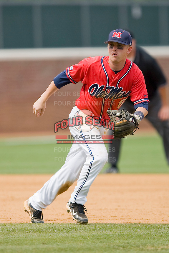 Shortstop Kevin Mort #6 of the Ole Miss Rebels on defense against the St. John's Red Storm at the Charlottesville Regional of the 2010 College World Series at Davenport Field on June 6, 2010, in Charlottesville, Virginia.  The Red Storm defeated the Rebels 20-16.  Photo by Brian Westerholt / Four Seam Images