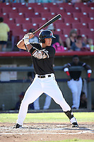 Dylan Moore (6) of the High Desert Mavericks bats against the Rancho Cucamonga Quakes at Heritage Field on August 7, 2016 in Adelanto, California. Rancho Cucamonga defeated High Desert, 10-9. (Larry Goren/Four Seam Images)