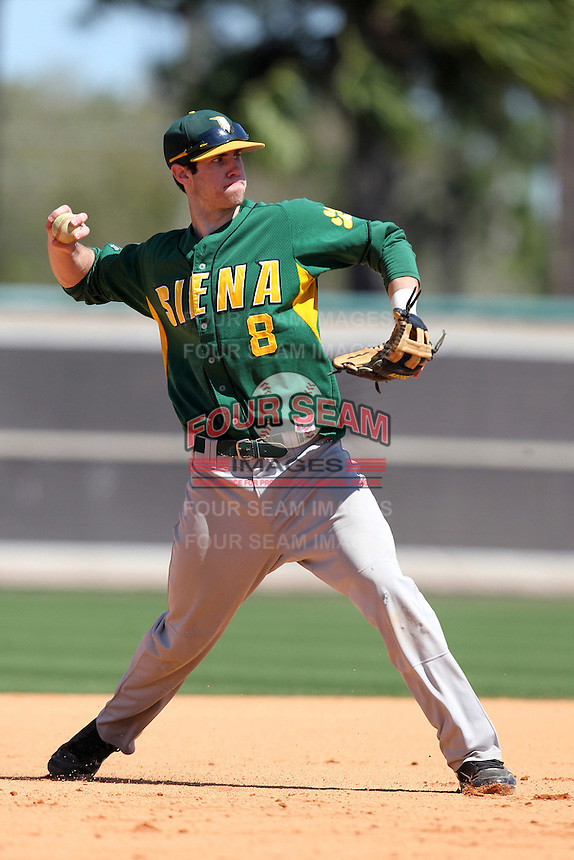 Siena Saints third baseman Mike Allen #8 during warmups before a game against the UCF Knights at the UCF Baseball Complex on March 4, 2012 in Orlando, Florida.  Central Florida defeated Siena 15-2.  (Mike Janes/Four Seam Images)