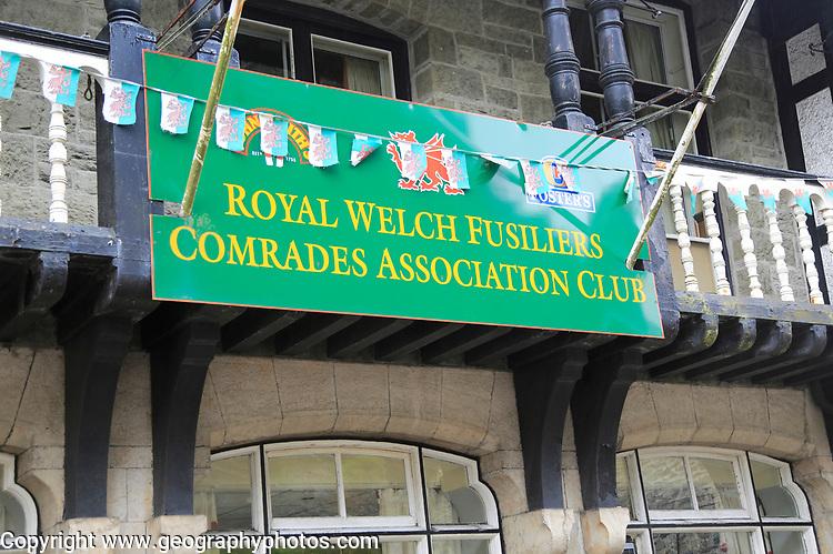 Royal Welch Fusiliers Comrades Association Club, Blaenau Ffestiniog, Gwynedd, north Wales, UK