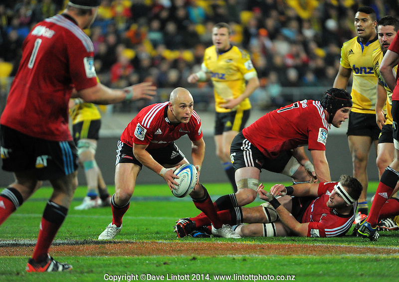 Willi Heinz considers his options during the Super Rugby match between the Hurricanes and Crusaders at Westpac Stadium, Wellington, New Zealand on Saturday, 28 June 2014. Photo: Dave Lintott / lintottphoto.co.nz