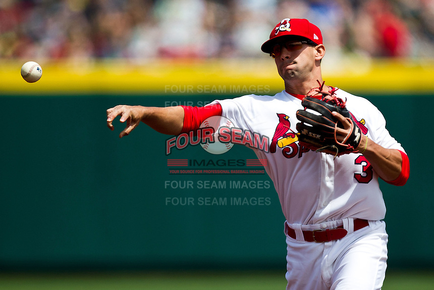 Jose Garcia (3) of the Springfield Cardinals throws to first base during a game against the Arkansas Travelers at Hammons Field on May 8, 2012 in Springfield, Missouri. (David Welker/ Four Seam Images)
