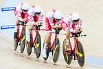 The team of Poland with Alan Banaszek, Szymon Sajnok, Daniel Staniszewski and Adrian Teklinski compete in the Men's Team Pursuit - Qualifying match as part of the Men's Team Pursuit - Qualifying match as part of the 2017 UCI Track Cycling World Championships on 12 April 2017, in Hong Kong Velodrome, Hong Kong, China. Photo by Victor Fraile / Power Sport Images