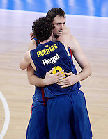 FC Barcelona Regal's Marcelinho Huertas (l) and Erazem Lorbek celebrate during Spanish Basketball King's Cup match.February 07,2013. (ALTERPHOTOS/Acero) /Nortephoto