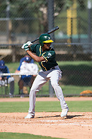 Oakland Athletics outfielder Kevin Richards (52) at bat during an Instructional League game against the Los Angeles Dodgers at Camelback Ranch on October 4, 2018 in Glendale, Arizona. (Zachary Lucy/Four Seam Images)