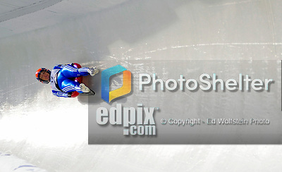 6 February 2009: Alexandra Rodionova from Russia slides through a curve in the Women's Competition finishing in 11th place for the event with a combined time of 1:29.288 at the 41st FIL Luge World Championships, in Lake Placid, New York, USA. .  .Mandatory Photo Credit: Ed Wolfstein Photo