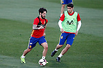 Spain's Isco Alarcon (l) and Alvaro Morata during training session. March 20,2017.(ALTERPHOTOS/Acero)