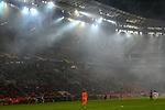 08.11.2018, BayArena, Leverkusen, Europaleque, Vorrunde, GER, UEFA EL, Bayer 04 Leverkusen (GER) vs. FC Zuerich (SUI),<br />  <br /> DFL regulations prohibit any use of photographs as image sequences and/or quasi-video<br /> <br /> im Bild / picture shows: <br /> der Qualm im Stadion durch die Pyrotechnik<br /> <br /> Foto &copy; nordphoto / Meuter<br /> <br /> <br /> <br /> Foto &copy; nordphoto / Meuter