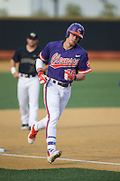 Seth Beer (28) of the Clemson Tigers rounds third base after hitting the first of his two home runs in the game against the Wake Forest Demon Deacons at David F. Couch Ballpark on March 12, 2016 in Winston-Salem, North Carolina.  The Tigers defeated the Demon Deacons 6-5.  (Brian Westerholt/Four Seam Images)