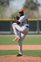 San Francisco Giants relief pitcher Eduardo Rivera (58) prepares to deliver a pitch to the plate during a Minor League Spring Training game against the Cleveland Indians at the San Francisco Giants Training Complex on March 14, 2018 in Scottsdale, Arizona. (Zachary Lucy/Four Seam Images)