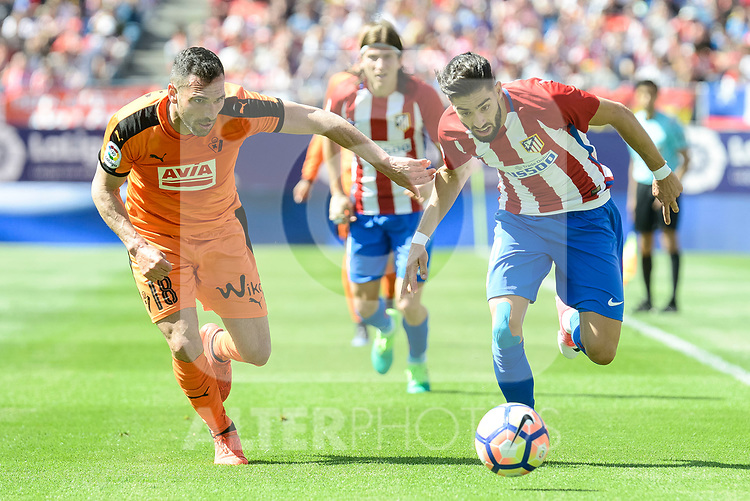 Atletico de Madrid's Yannick Carrasco and SD Eibar's Anaitz Arbilla Zabala during Liga Liga match between Atletico de Madrid and SD Eibar at Vicente Calderon Stadium in Madrid, May 06, 2017. Spain.<br /> (ALTERPHOTOS/BorjaB.Hojas)