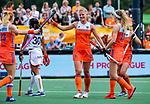 Den Bosch  - Caia Van Maasakker (Ned) scoort uit een strafcorner,    tijdens  de Pro League hockeywedstrijd dames, Nederland-Belgie (2-0).    COPYRIGHT KOEN SUYK