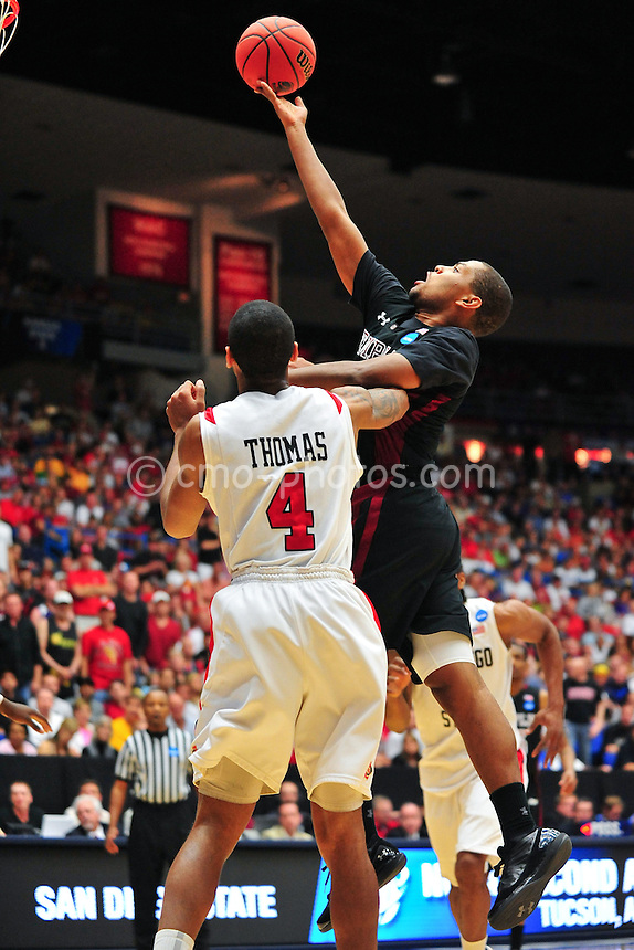 Mar 19, 2011; Tucson, AZ, USA; Temple Owls guard Khalif Wyatt (1) shoots the ball in the first half of a game against the San Diego State Aztecs in the third round of the 2011 NCAA men's basketball tournament at the McKale Center.