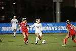 SALEM, VA - DECEMBER 3:Kelly Von Zup (15) and Marisa Weaver (10) battle for the ball during theDivision III Women's Soccer Championship held at Kerr Stadium on December 3, 2016 in Salem, Virginia. Washington St Louis defeated Messiah 5-4 in PKs for the national title. (Photo by Kelsey Grant/NCAA Photos)