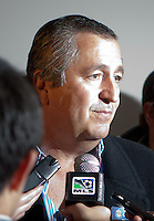 CD Chivas USA and CD Guadalajarara owner Jorge Vergara during a halftime meeting with the reporters. Sporting KC defeated CD Chivas USA 3-2 at Home Depot Center stadium in Carson, California on Saturday March 19, 2011...