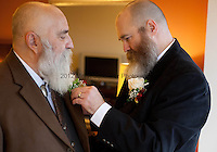 LARRY DUNCAN, 56, left, and RANDELL (RANDY) SHEPHERD, 48, right, from North Bend, Wash., prepare for their wedding in a Seattle hotel room on December 9, 2012, the first day that same-sex marriage was allowed in the state of Washington. The couple have been together for 11 years. Originally from the suburbs of Dallas, Texas, they moved to Washington seven years ago to obtain more gay rights. They got married at 2pm at Seattle First Baptist Church in a group ceremony with 24 other couples.