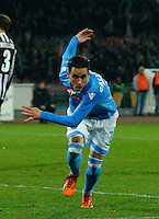 Jose Callejon  celebrates after scoring during the Italian Serie A soccer match between SSC Napoli and Juventus FC   at San Paolo stadium in Naples, March 30 , 2014
