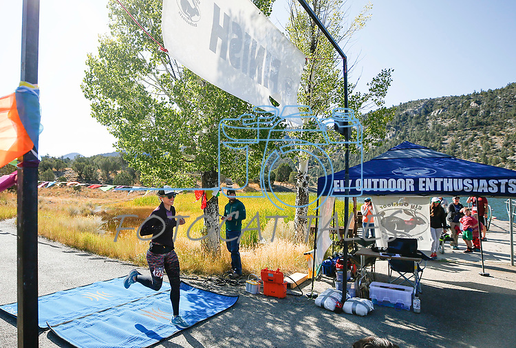 Half marathon runner Sarah Somers wins the women's division of the 8th annual Take it to the Lake race at Cave Lake State Park, near Ely, Nev., on Saturday, Sept. 21, 2019.<br /> Photo by Cathleen Allison/Nevada Momentum