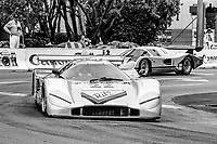 #22 Nimrod Aston Martin of Lynn St. James and Doc Bundy races on the track during the Budweiser Grand Prix of Miami, Bicentennial Park, Miami, FL, February 27, 1983(Photo by Brian Cleary/bcpix.com)