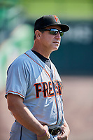 Fresno Grizzlies manager Tony DeFrancesco (11) before the game against the Salt Lake Bees at Smith's Ballpark on September 4, 2017 in Salt Lake City, Utah. Fresno defeated Salt Lake 9-7. (Stephen Smith/Four Seam Images)