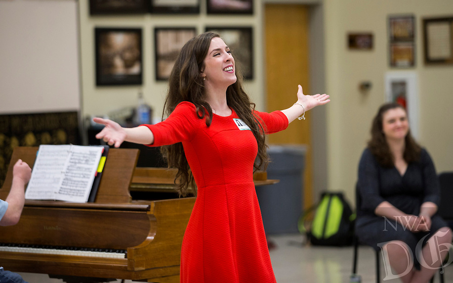 NWA Democrat-Gazette/JASON IVESTER<br /> Genevieve (cq) Fulks (cq) performs Thursday, May 18, 2017, with others from Opera in the Ozarks for students at Bentonville High School. Public performances for the season run June 23 through July 21.
