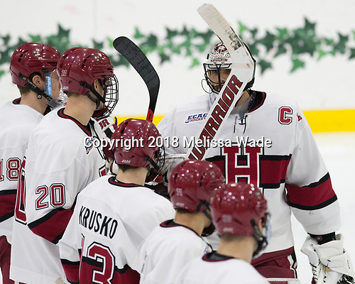 Merrick Madsen (Harvard - 31) - The visiting Colgate University Raiders shut out the Harvard University Crimson for a 2-0 win on Saturday, January 27, 2018, at Bright-Landry Hockey Center in Boston, Massachusetts.The visiting Colgate University Raiders shut out the Harvard University Crimson for a 2-0 win on Saturday, January 27, 2018, at Bright-Landry Hockey Center in Boston, Massachusetts.