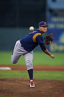 State College Spikes pitcher Juan Perez (47) delivers a pitch during a game against the Batavia Muckdogs August 23, 2015 at Dwyer Stadium in Batavia, New York.  State College defeated Batavia 5-3.  (Mike Janes/Four Seam Images)
