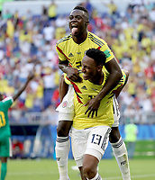SAMARA - RUSIA, 28-06-2018: Yerry MINA (#13) jugador de Colombia celebra después de anotar un gol a Senegal durante partido de la primera fase, Grupo H, por la Copa Mundial de la FIFA Rusia 2018 jugado en el estadio Samara Arena en Samara, Rusia. /  Yerry MINA (#13) player of Colombia celebrates after scoring a goal to Senegal during match of the first phase, Group H, for the FIFA World Cup Russia 2018 played at Samara Arena stadium in Samara, Russia. Photo: VizzorImage / Julian Medina / Cont