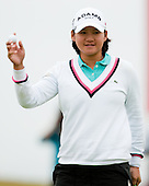 Yani Tseng acknowledges the galleries after completing her first round play of the  Ricoh Woman's British Open to be played over the Championship Links from 28th to 31st July 2011; Picture Stuart Adams, SAFOTO. www.safoto.co.uk; 28th July 2011