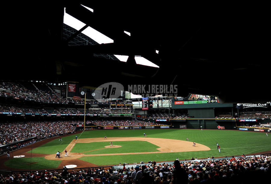 Apr. 8, 2012; Phoenix, AZ, USA; Overall view of Chase Field during the game between the Arizona Diamondbacks against the San Francisco Giants at Chase Field. Mandatory Credit: Mark J. Rebilas-