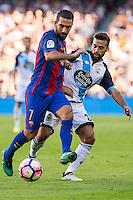 FC Barcelona's Arda Turan and Deportivo de La Coruna's Bruno Gama during the La Liga match between Futbol Club Barcelona and Deportivo de la Coruna at Camp Nou Stadium Spain. October 15, 2016. (ALTERPHOTOS/Rodrigo Jimenez)