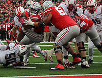 Ohio State Buckeyes tight end Jeff Heuerman (5) is tackled afterr nearly scoring a touchdown in the first quarter of their game at Ohio Stadium in Columbus, Ohio on October 18, 2014. (Columbus Dispatch photo by Brooke LaValley)