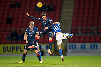 29th December 2019; McDairmid Park, Perth, Perth and Kinross, Scotland; Scottish Premiership Football, St Johnstone versus Ross County; Josh Mullin of Ross County competes in the air with Jason Holt of St Johnstone  - Editorial Use