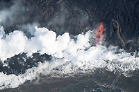 May 2018: Lava from the Kilauea Volcano eruption meets the Pacific Ocean, Big Island of Hawai'i.