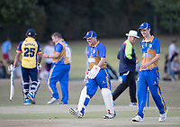 Change ends between overs during Upminster CC vs Essex CCC, Benefit Match Cricket at Upminster Park on 8th September 2019