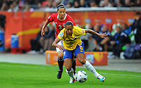 Rosana (r) of team Brazi and Nora Holstad Berge of team Norway during the FIFA Women's World Cup at the FIFA Stadium in Wolfsburg, Germany on July 3rd, 2011.