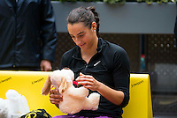 French Caroline Garcia with a teddy bear during Doubles Woman Final Mutua Madrid Open Tennis 2016 in Madrid, May 07, 2016. (ALTERPHOTOS/BorjaB.Hojas) /NortePhoto.com