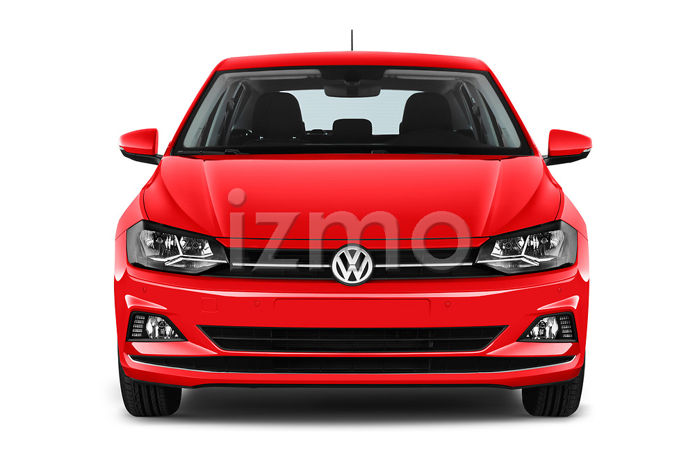 Car photography straight front view of a 2018 Volkswagen Polo High Line 5 Door Hatchback