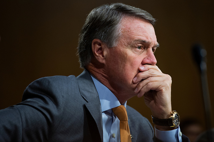 "UNITED STATES - JULY 21: Sen. David Perdue, R-Ga., attends a Senate Judiciary Committee hearing in Dirksen Building titled ""Oversight of the Administration's Misdirected Immigration Enforcement Policies: Examining the Impact on Public Safety and Honoring the Victims,"" July 21, 2015. The hearing featured testimony of families of victims who were killed by undocumented immigrants. (Photo By Tom Williams/CQ Roll Call)"
