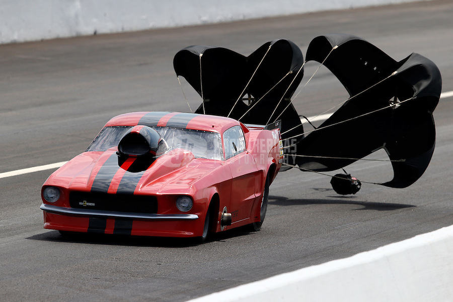 Aug. 31, 2013; Clermont, IN, USA: NHRA pro mod driver Chris Juliano during qualifying for the US Nationals at Lucas Oil Raceway. Mandatory Credit: Mark J. Rebilas-