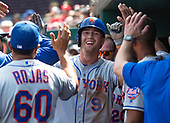 New York Mets center fielder Brandon Nimmo (9) celebrates in the dugout after scoring his team's second run in the second inning against the Washington Nationals at Nationals Park in Washington, D.C. on Monday, September 2, 2019.<br /> Credit: Ron Sachs / CNP<br /> (RESTRICTION: NO New York or New Jersey Newspapers or newspapers within a 75 mile radius of New York City)