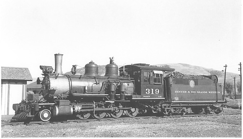 Fireman's-side view of D&amp;RGW #319 at Gunnison.<br /> D&amp;RGW  Gunnison, CO  Taken by Schick, Joe - 9/3/1939