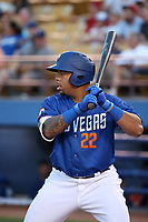 Dominic Smith (22) of the Las Vegas 51s bats against the Sacramento River Cats at Cashman Field on June 15, 2017 in Las Vegas, Nevada. Las Vegas defeated Sacramento, 12-4. (Larry Goren/Four Seam Images)