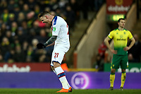 1st January 2020; Carrow Road, Norwich, Norfolk, England, English Premier League Football, Norwich versus Crystal Palace; Connor Wickham of Crystal Palace celebrates after VAR corrects the disallowed decision for his goal for 1-1 in the 85th minute - Strictly Editorial Use Only. No use with unauthorized audio, video, data, fixture lists, club/league logos or 'live' services. Online in-match use limited to 120 images, no video emulation. No use in betting, games or single club/league/player publications